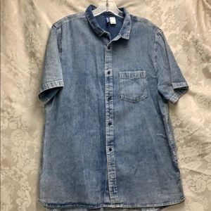H&M Divided Large Denim Button Up EUC Short Sleeve